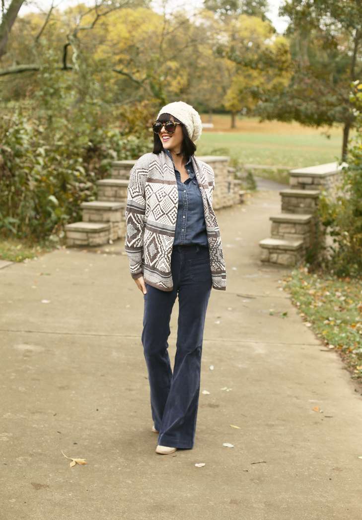 Fall Outfit Idea, Old Navy Sweater, Flared Cords, Jessica Quirk Fall Outfit