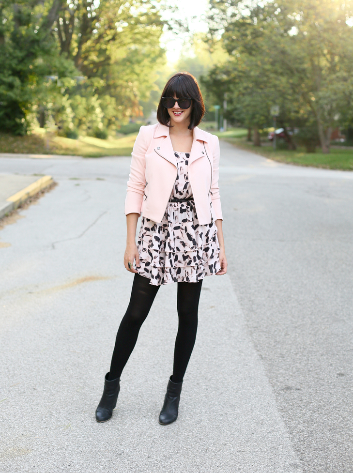 Pale Pink for Fall, Moto Jacket, How to wear pink for fall