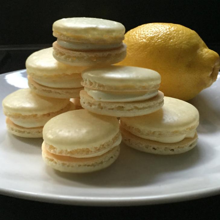 lemon macarons, macarons