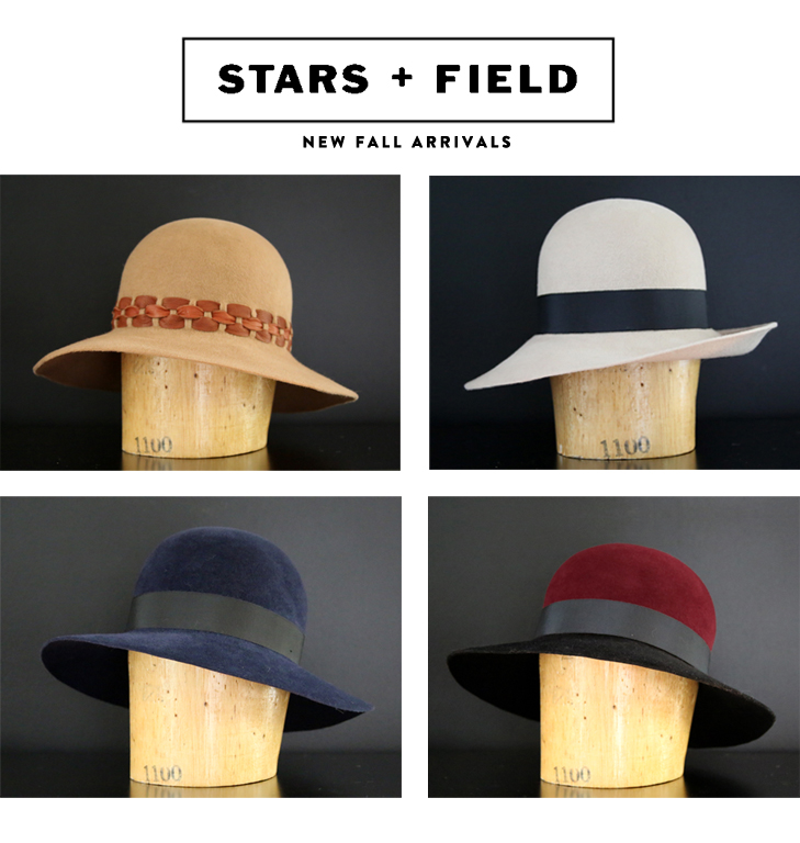 Stars and Field Millinery, Stars and Field, Fall Arrivals