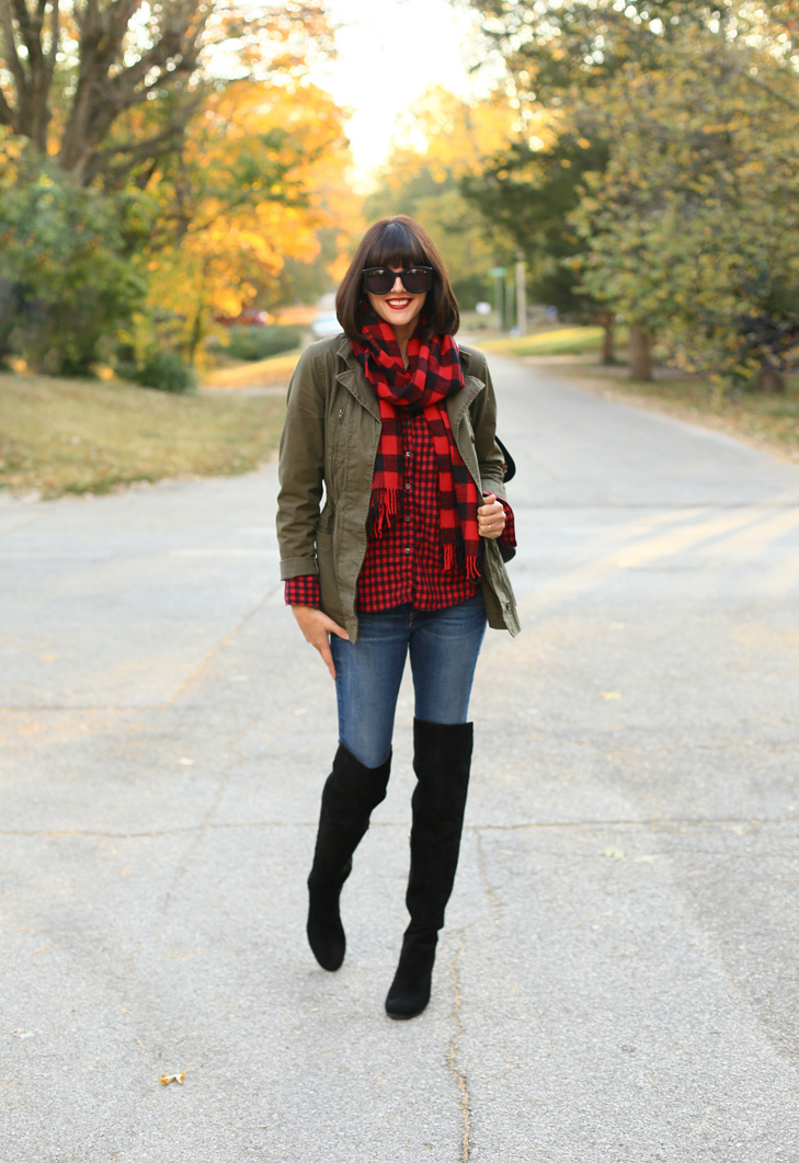 Buffalo plaid, Mixed Plaid, Over the Knee Boots, Cute fall outfit idea