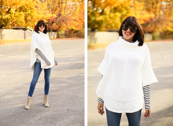 Fall Outfit Idea, Poncho, Fall Stripes, Cozy Fall Outfit, Fall