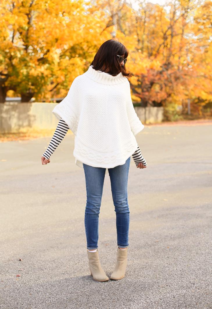 Fall Outfit Idea, Poncho, Fall Stripes, Cozy Fall Outfit, Fall