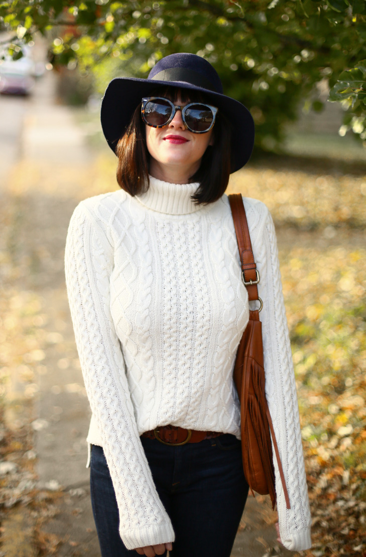 Floppy Hat, Navy Hat, Cream Sweater, Flare Jeans