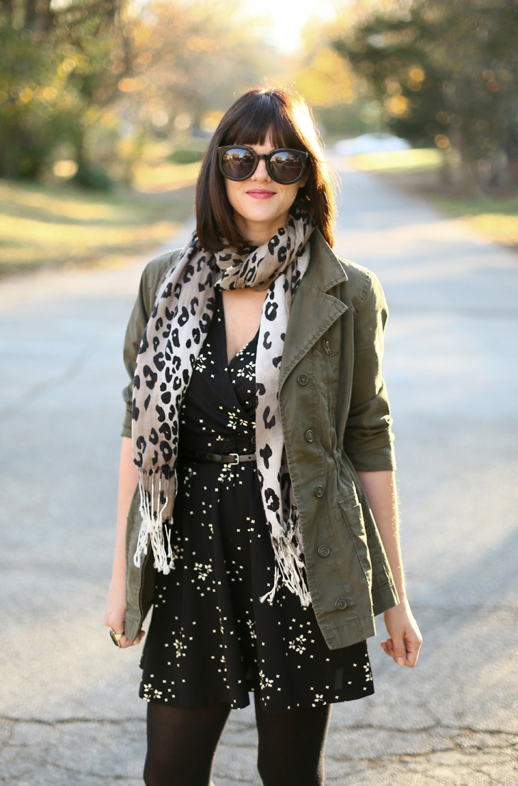Army Jacket and Dress, How to wear an army jacket, easy fall outfit, pattern mixing leopard