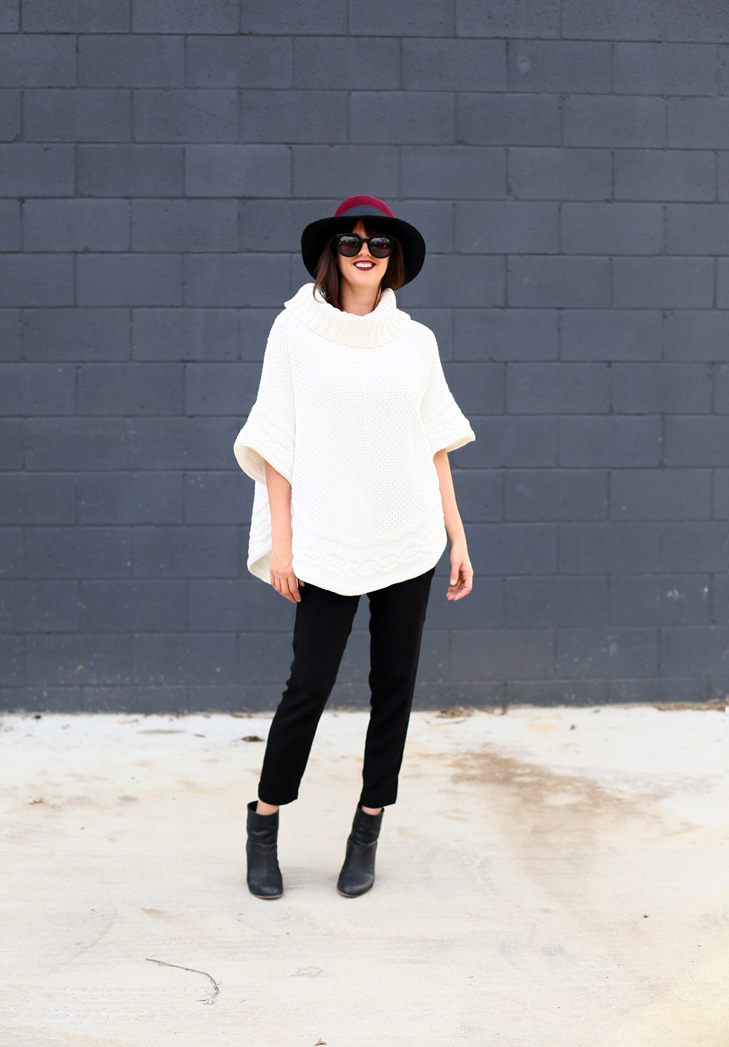 Bold Hat, Cream Poncho, Joggers, Booties, Stars and Field Hat