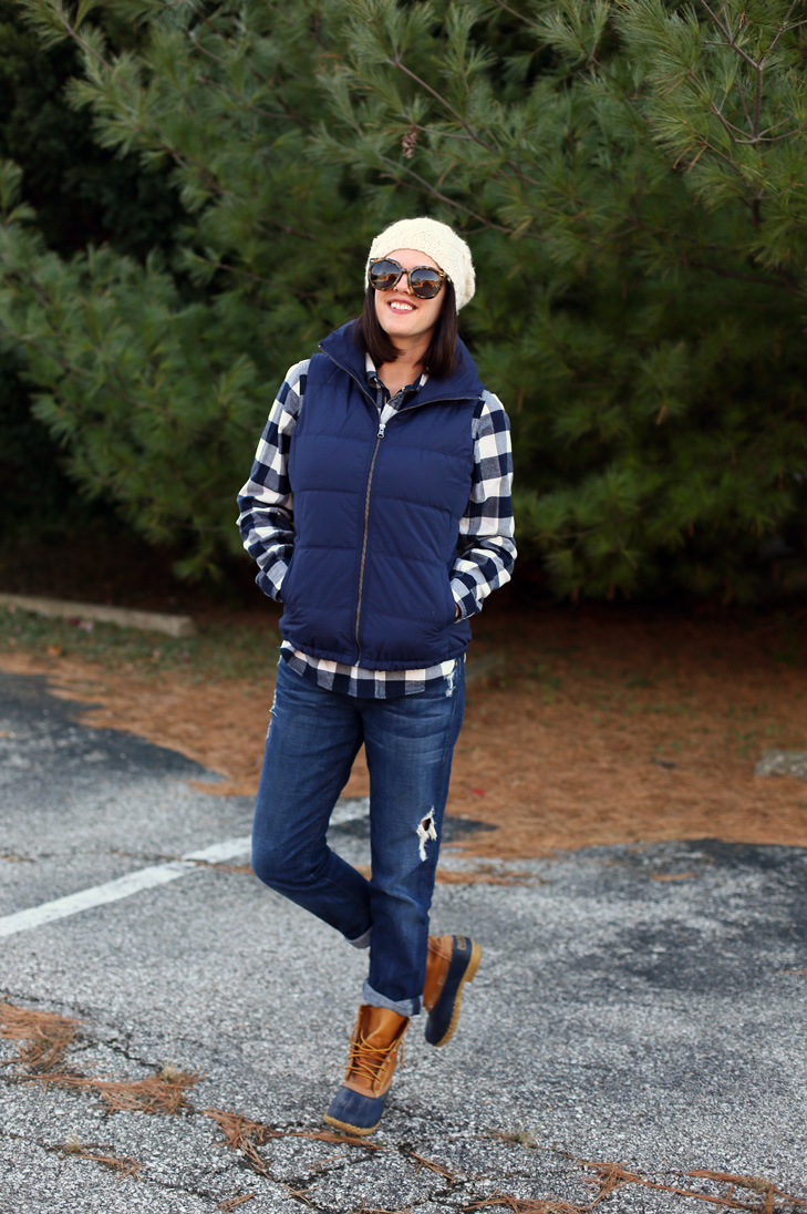 Old Navy Puffer Vest, Flannel Pull Over, Jeans, LL Bean Boots