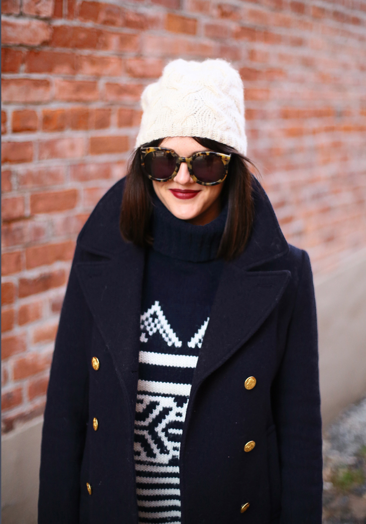 J.Crew Peacoat, Alpine Sweater, Black Dahila Lipstick
