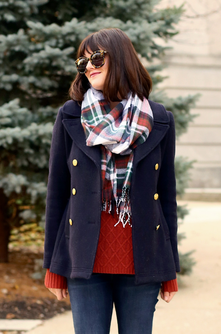 How to style a plaid scarf, what to wear with a rust colored sweater, whatiwore.tumblr.com