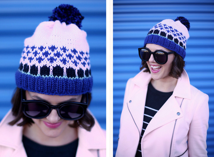 Pale Pink, Knitting, Fair Isle Hat, Winter outfit Idea
