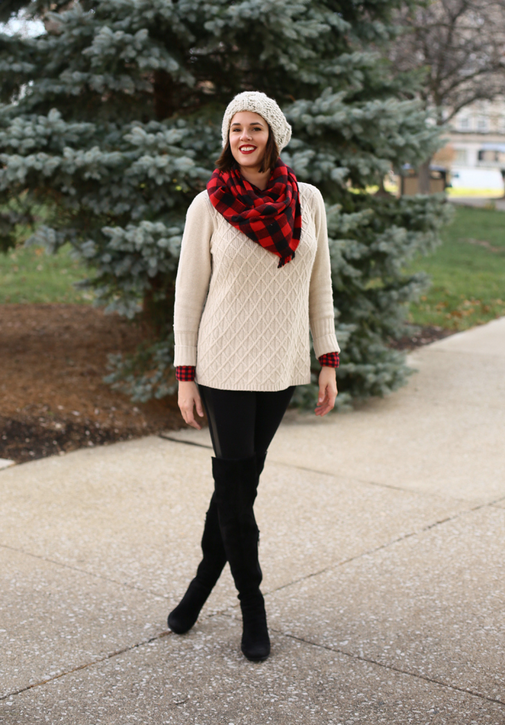 Buffalo Plaid, Casual Holiday Outfit, Over the Knee Boots
