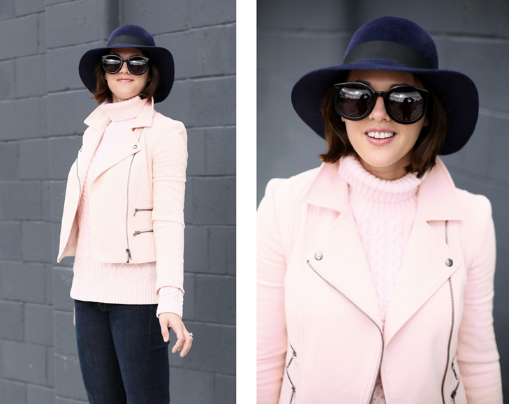 pale pink, high rise flares, navy floppy hat
