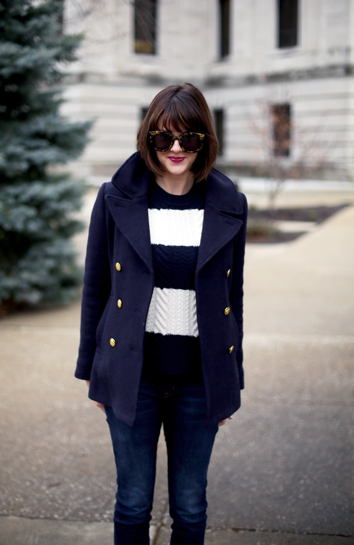 J.Crew peacoat, simple winter outfit idea