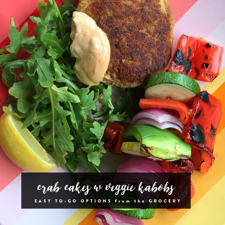 Crab Cakes and Veggie Kabobs