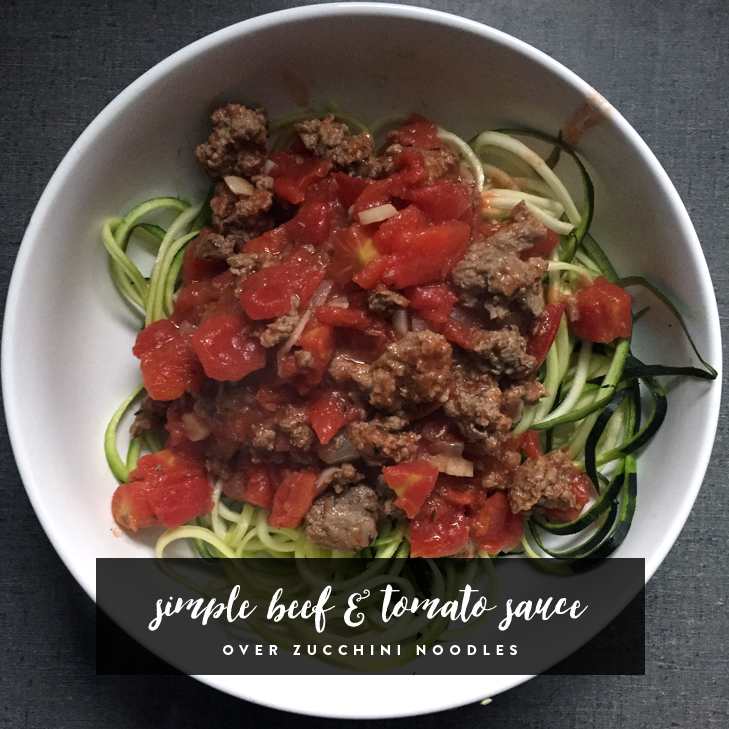 Simple Beef and Tomato Red Sauce over Zucchini Noodles