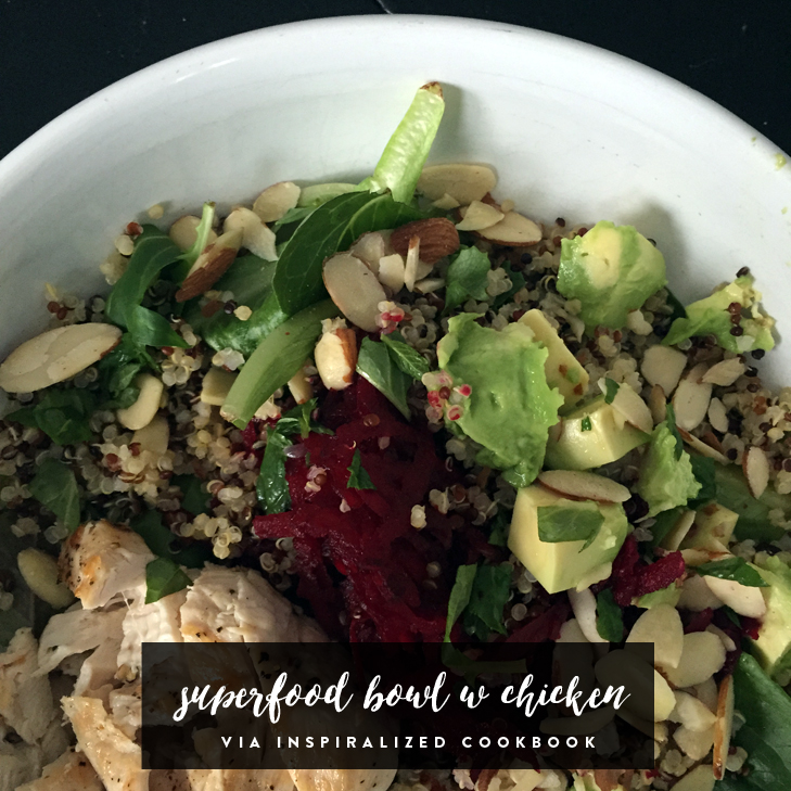Spinach, Beet, Avocado, Quinoa and Grilled Chicken Superfood Bowl via Inspiralized Cookbook