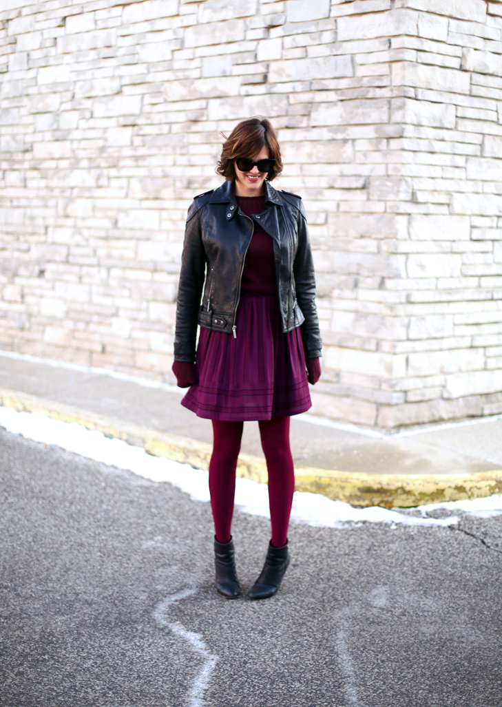 Jessica Quirk mixes a home sewn skirt with bold tights and Rag + Bone Newbury booties on her blog What I Wore