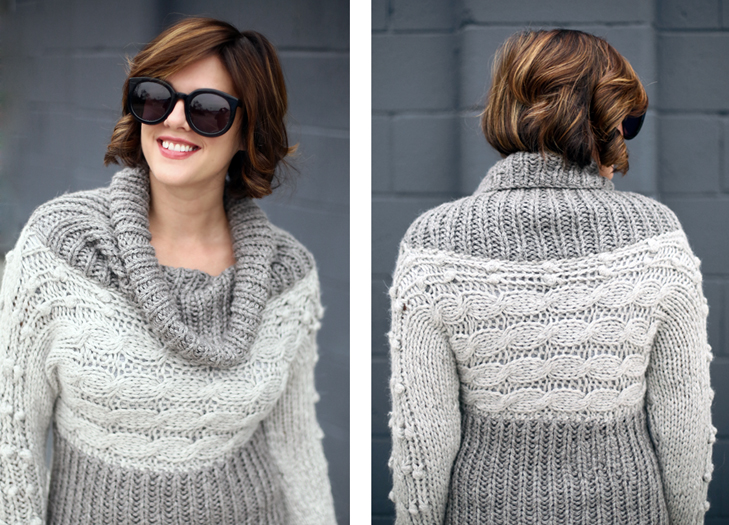 Jessica Quirk wears a hand knit gray sweater, Knitting