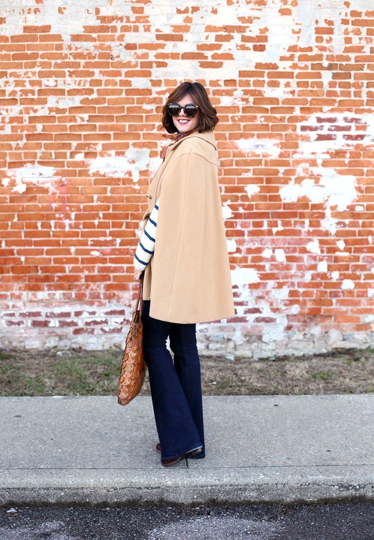 Camel Cape, Striped Sweater, Flare Jeans, Neck Scarf