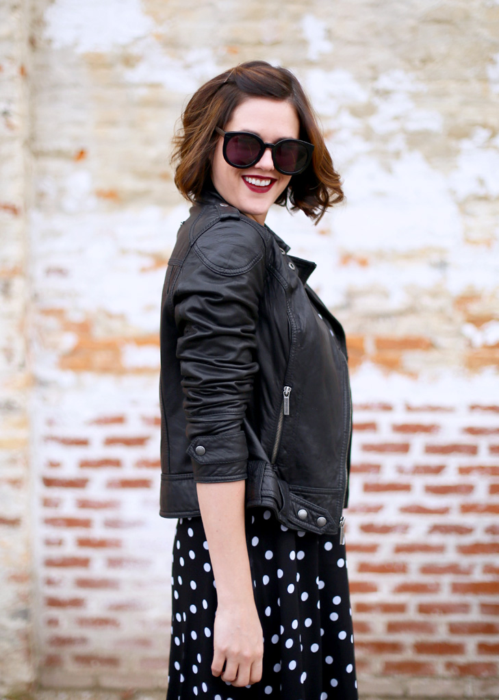 Leather Moto Jacket, Polka Dot Chiffon Dress, Black Dahila Lipstick