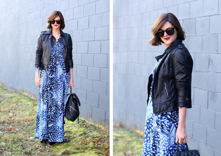 Chiffon Maxi Dress, Leather Jacket and Dress Outfit, How to style a maxi dress, ModCloth Blue Maxi Dress, Leather Jacket for spring, Jessica Quirk outfit, What I Wore blog