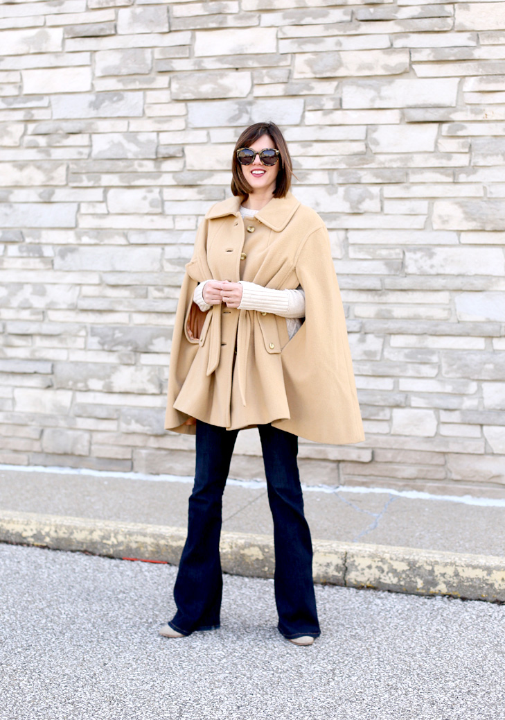 Camel Cape, Flare Jeans, End of Winter Outfit
