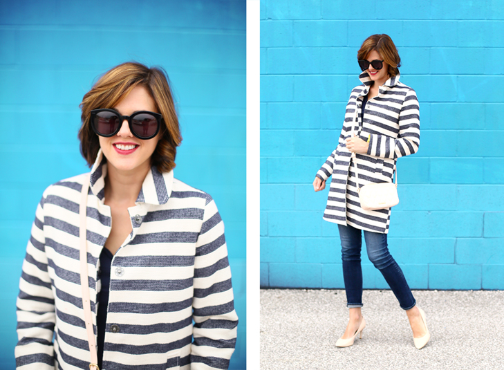 Spring Outfit, Striped Jacket, Jessica Quirk from What I Wore