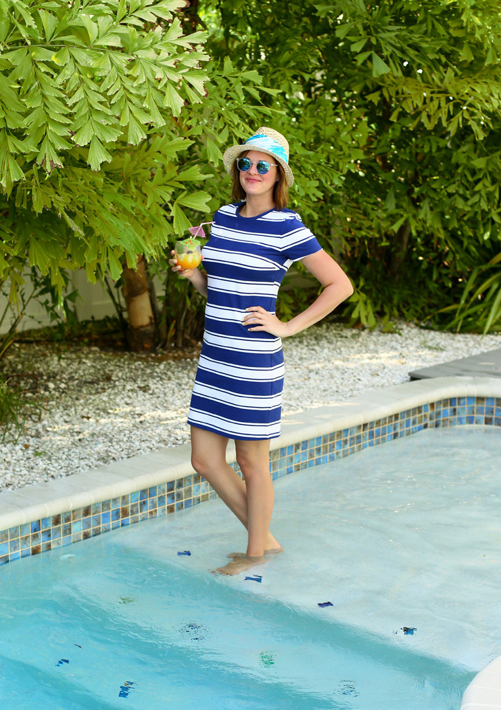 Striped Tee Shirt Dress, Poolside, Old Navy, Jessica Quirk, What I Wore