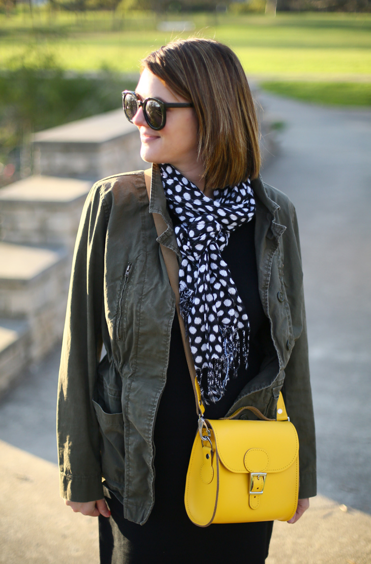 Olive Jacket, Casual LBD, Yellow Bag, Spring Outfit