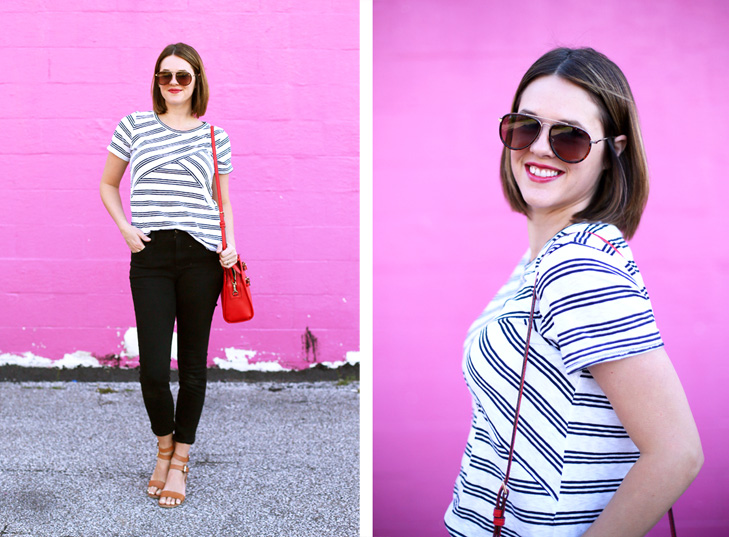 Stripes for Spring, Pop of red, Aviator sunglasses, Outfit of the day, WIW, What I Wore