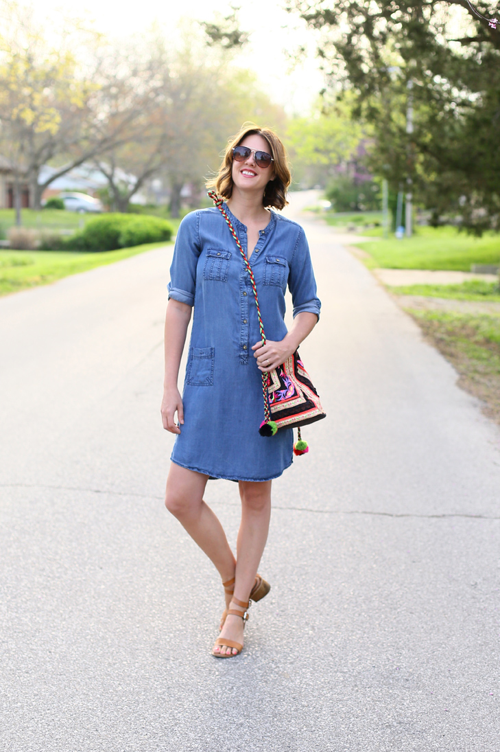 chambray dress, global eclectic bag, balayage bob