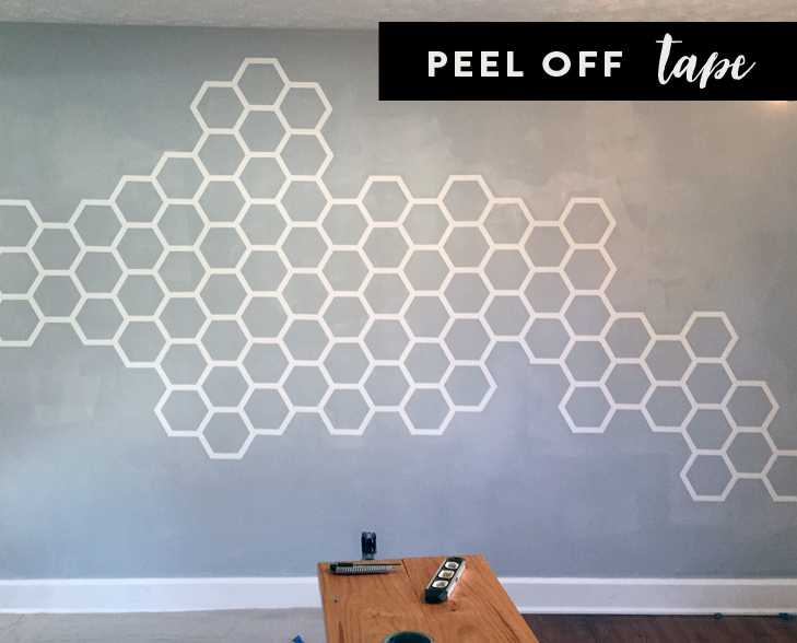 honeycomb wall, hexagon wall, hexagon, honeycomb, painters tape project, Jessica Quirk