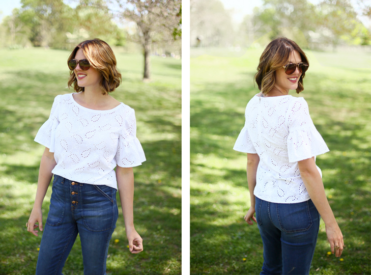 eyelet top, bell sleeves, bell shaped sleeves, point sur denim, high waisted jeans, Jessica Quirk, what I Wore