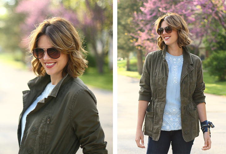 embroidered chambray, olive jacket, flare jeans, What I Wore, Outfit Idea, Jessica Quirk