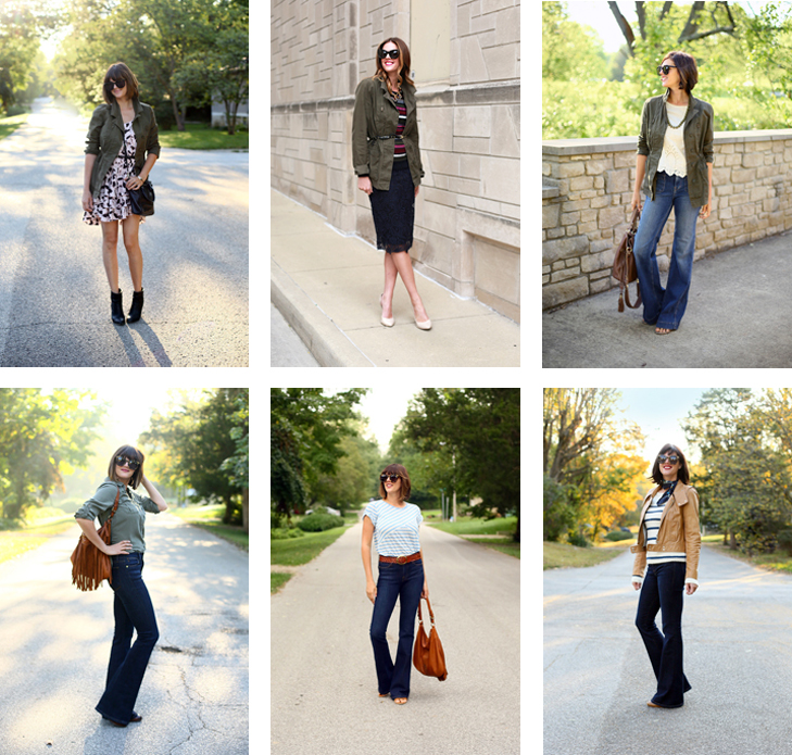 ways to wear an olive jacket, ways to wear flares