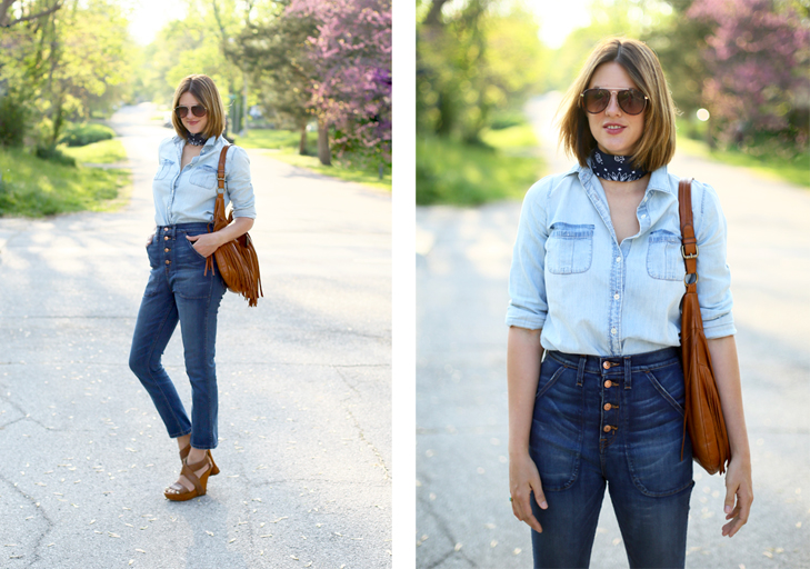 Banana, How to wear a Bandana, High Rise Jeans, Chambray, Jessica Quirk