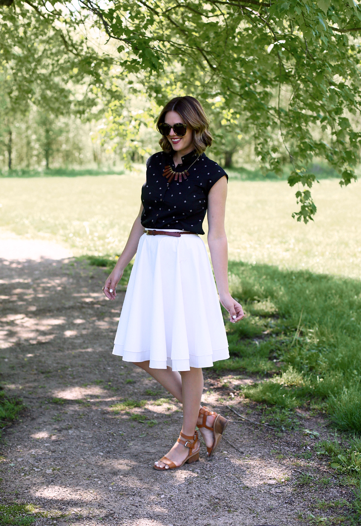 black and white outfit, retro inspired modern outfit, black button down, white skirt, what to wear with a white skirt, how to wear black and brown