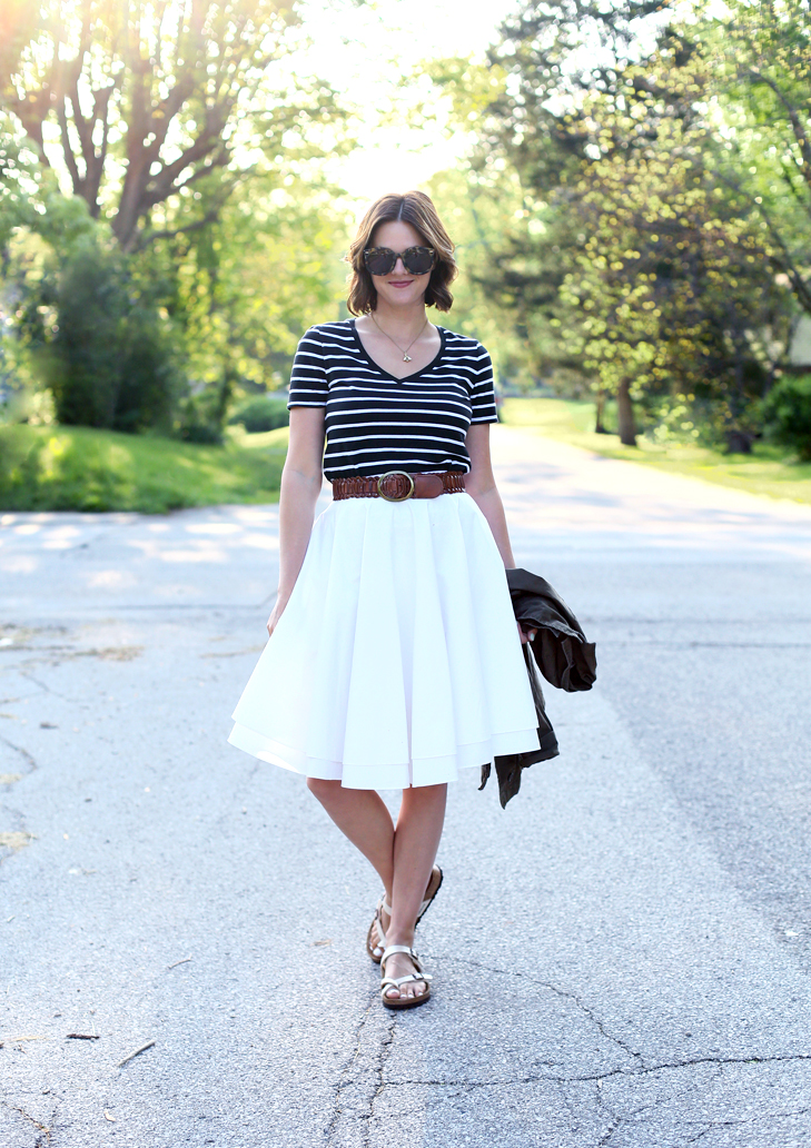 Never Basic Tee, Cute easy outfit, how to wear a white skirt, bee necklace