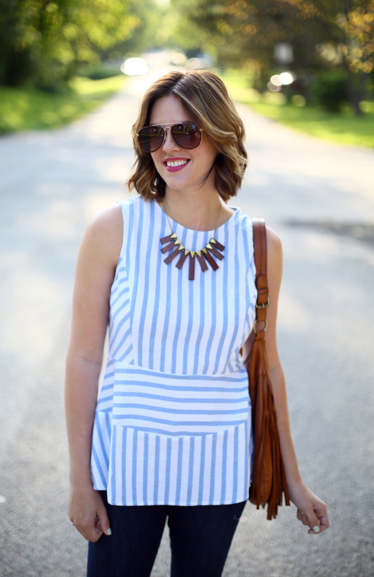 striped peplum, flare jeans, Jessica Quirk, outfit idea