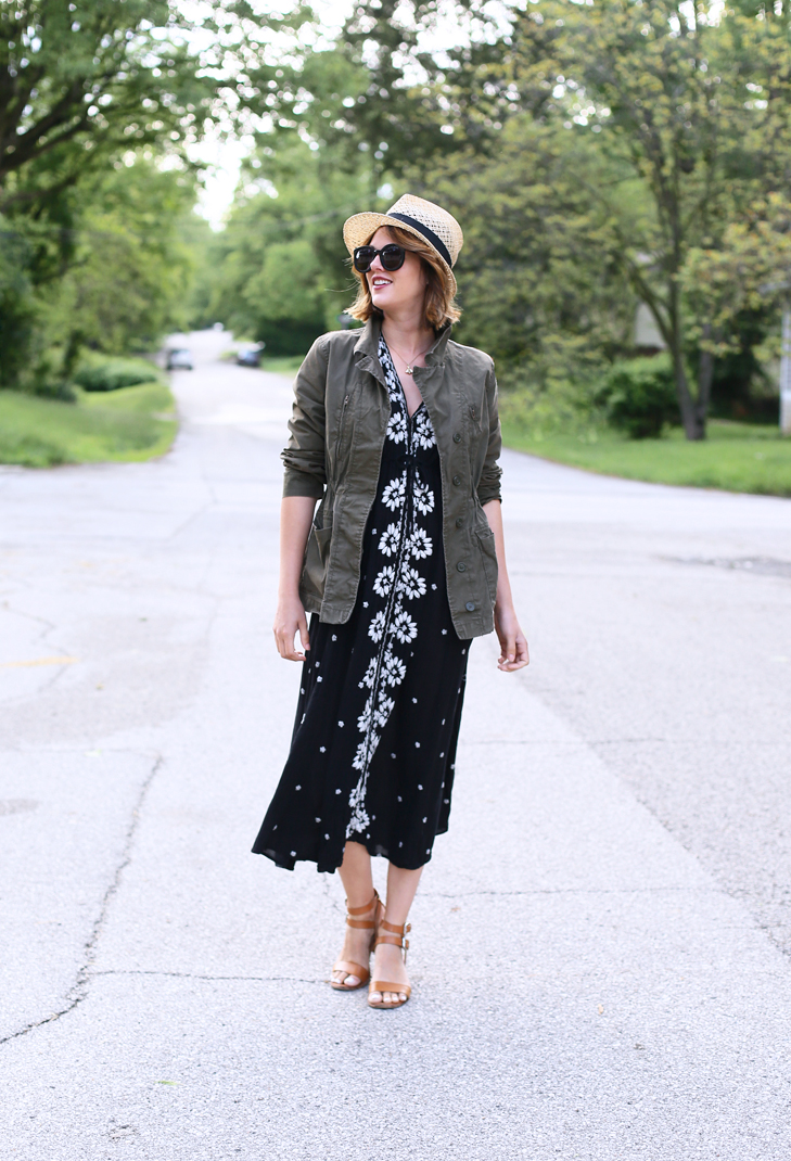 Embroidered Fable Dress, Free People Maxi Dress, Black and white embroidered dress, casual Saturday outfit, Jessica Quirk, What I Wore