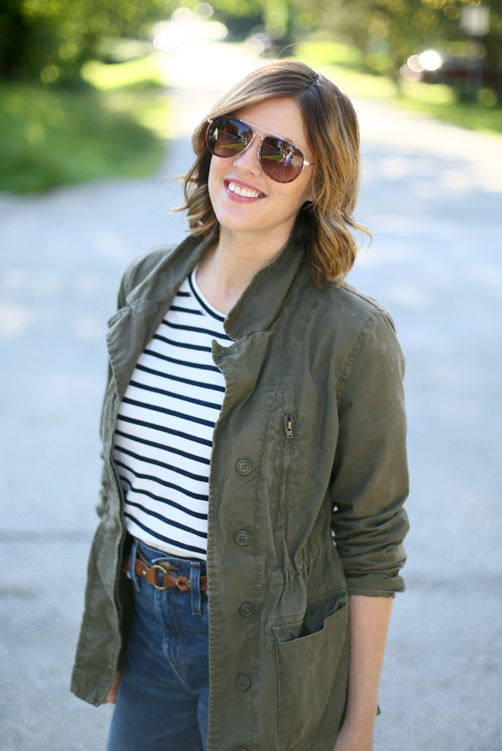 stripes, wide leg cropped jeans, olive jacket, sahm outfit