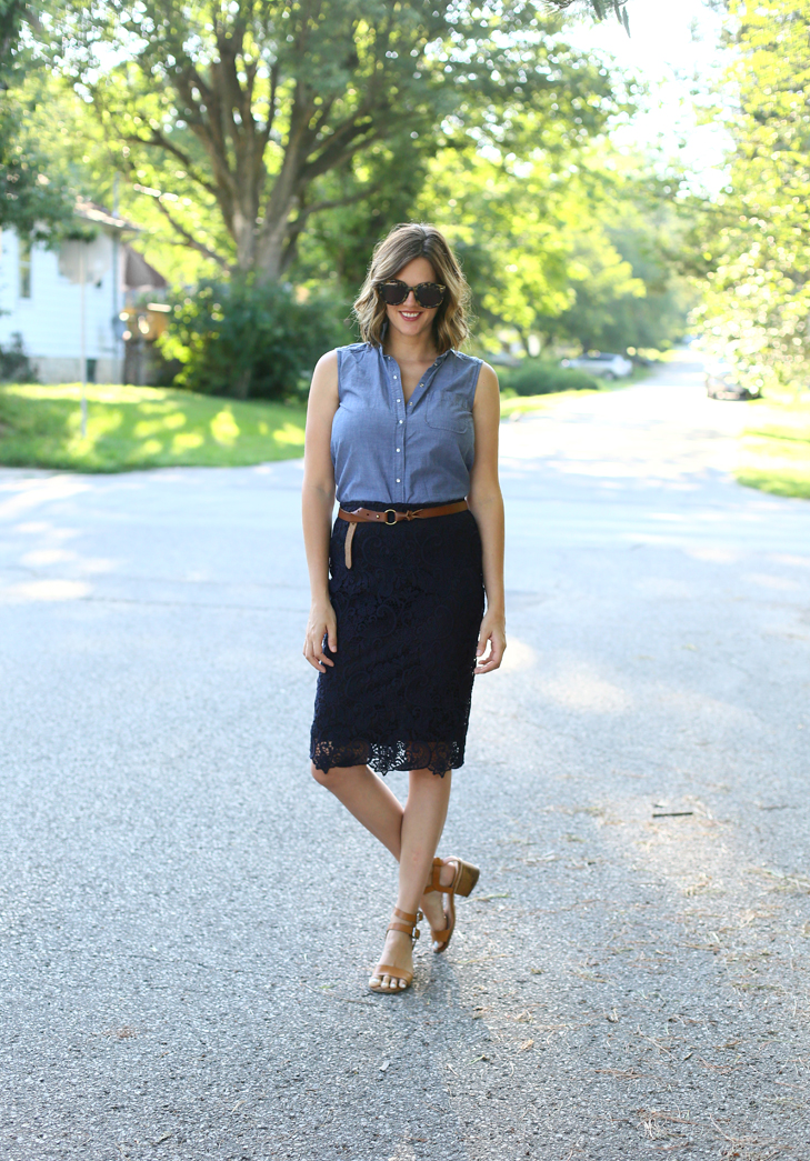 Summer Office Style, Sleeveless Chambray, Navy Lace Pencil Skirt