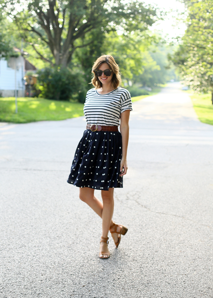 SAHM outfit, easy outfit, summer outfit, polka dots and stripes