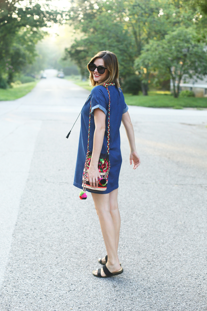 Chambray Shift Dress, Embroidered Peasant Dress, Caftan Dress, How to style a simple dress