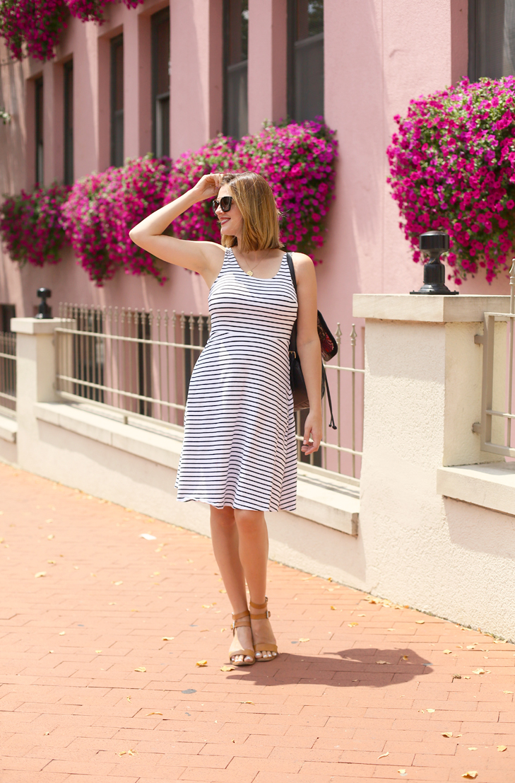 white striped dress, heat wave outfit, what I wore, OOTD, Jessica Quirk