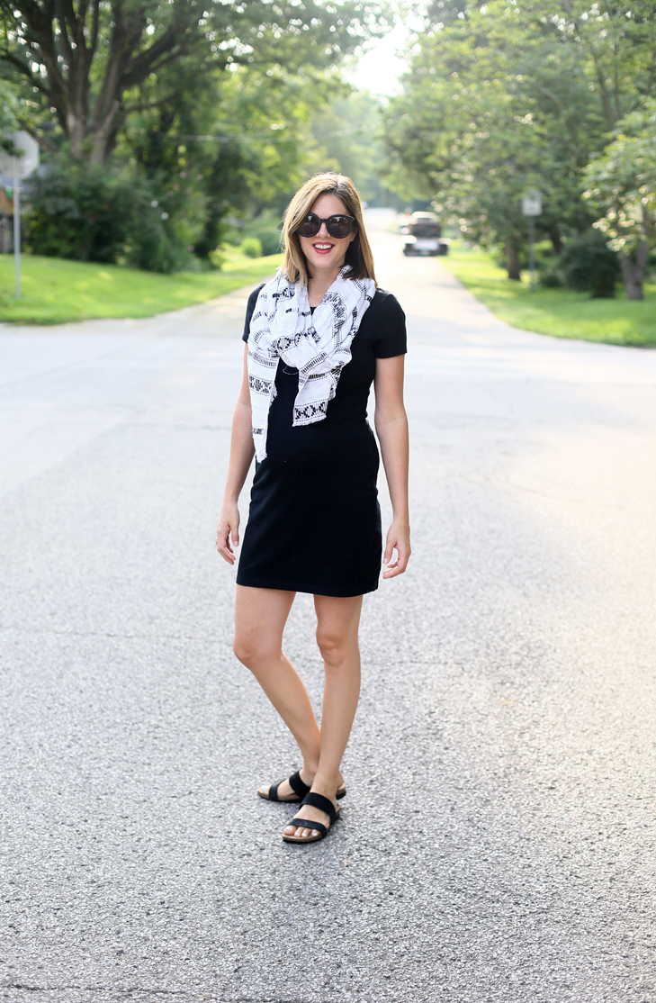 Little Black Dress, What to wear in your second trimester, early pregnancy outfit, baby bump outfit, dress the bump