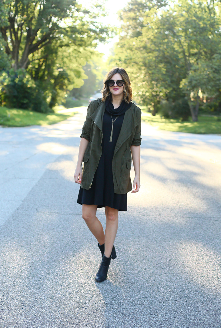 20 weeks pregnant, maternity outfit, maternity style, pregnancy style, olive jacket, black dress, early fall outfit