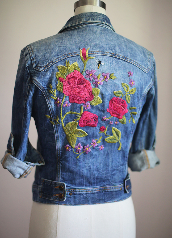 Embroidered Denim, Floral Embroidery, Inspired by Gucci Garden, Embroidered Jean Jacket, Embroidered Denim Jacket
