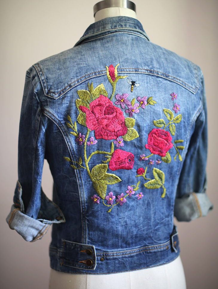 My DIY  Embroidered Denim Jacket On What I Wore