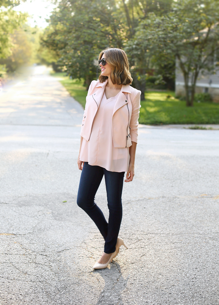Pale Pink for Fall, Pink Moto Jacket, Second Trimester Outfit, Pregnancy Style, Fall Maternity Outfit, Jessica Quirk, What I Wore, Cute Maternity Outfit